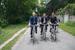 vélos voies vertes - Alain Schmitz, Ghislain Fournier et Jean-Marie Tetart