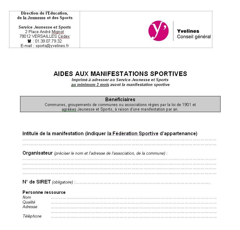 Aides Financieres Et Formulaires Lies Au Sport Conseil