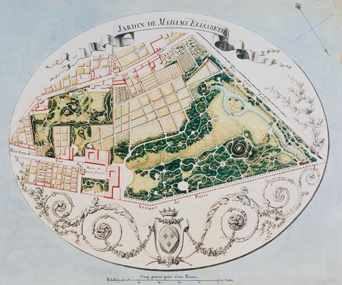 Plan aquarellé, J.J. Huvé- Bibliothèque Nationale