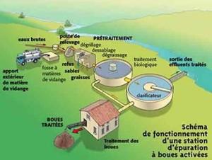Schéma de fonctionnement d'une station d'épuration à boues activées, ADEME 2001