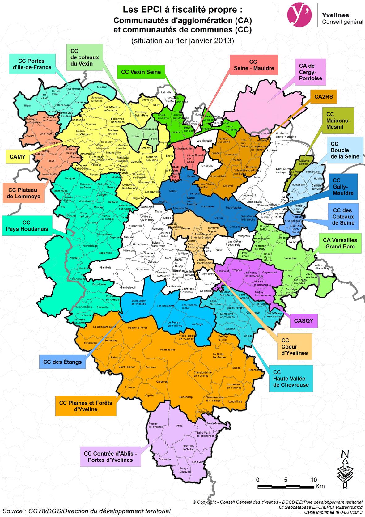 La nouvelle carte des intercommunalit s conseil for Villes des yvelines
