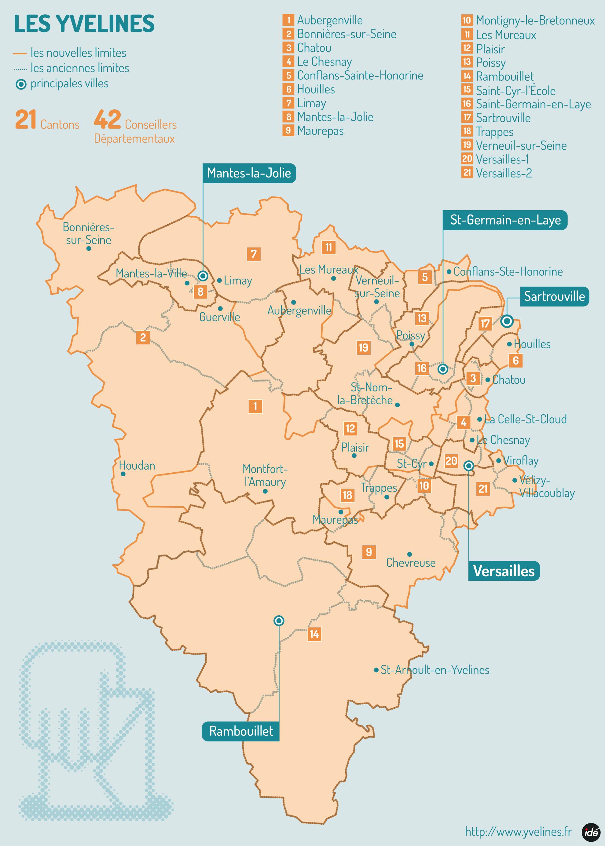 Les 21 nouveaux cantons conseil d partemental des for Visite yvelines 78