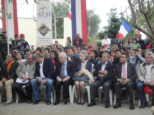 Pierre Bédier en compagnie de Nouhad Naufal et des autres personnalités lors de l'inauguration