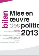Bilan mise en oeuvre des politiques 2013