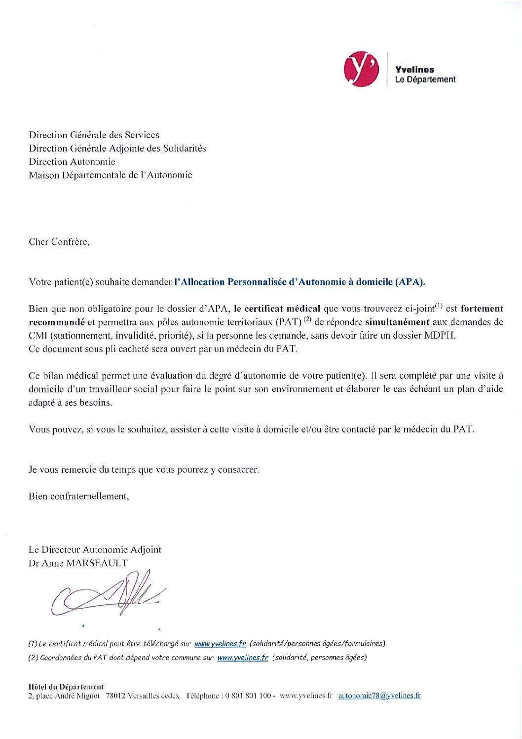 La Lettre D Accompagnement D Une Demande De Certificat Medical Pour L Apa Conseil Departemental Des Yvelines